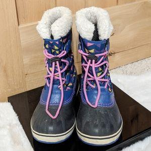 SOREL Blue & Pink Waterproof Snow Boots Sz 4
